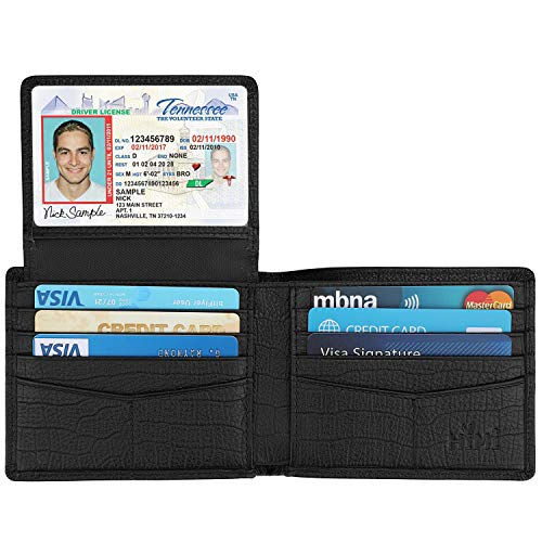 Wallet for Men-Genuine Leather RFID Blocking Bifold Stylish Wallet With 2 ID Window (Black-Pattern)