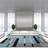 Teal Blue Colour Patchwork Bohemian Squares Design Living Room Floor Rug 160cm x 230cm