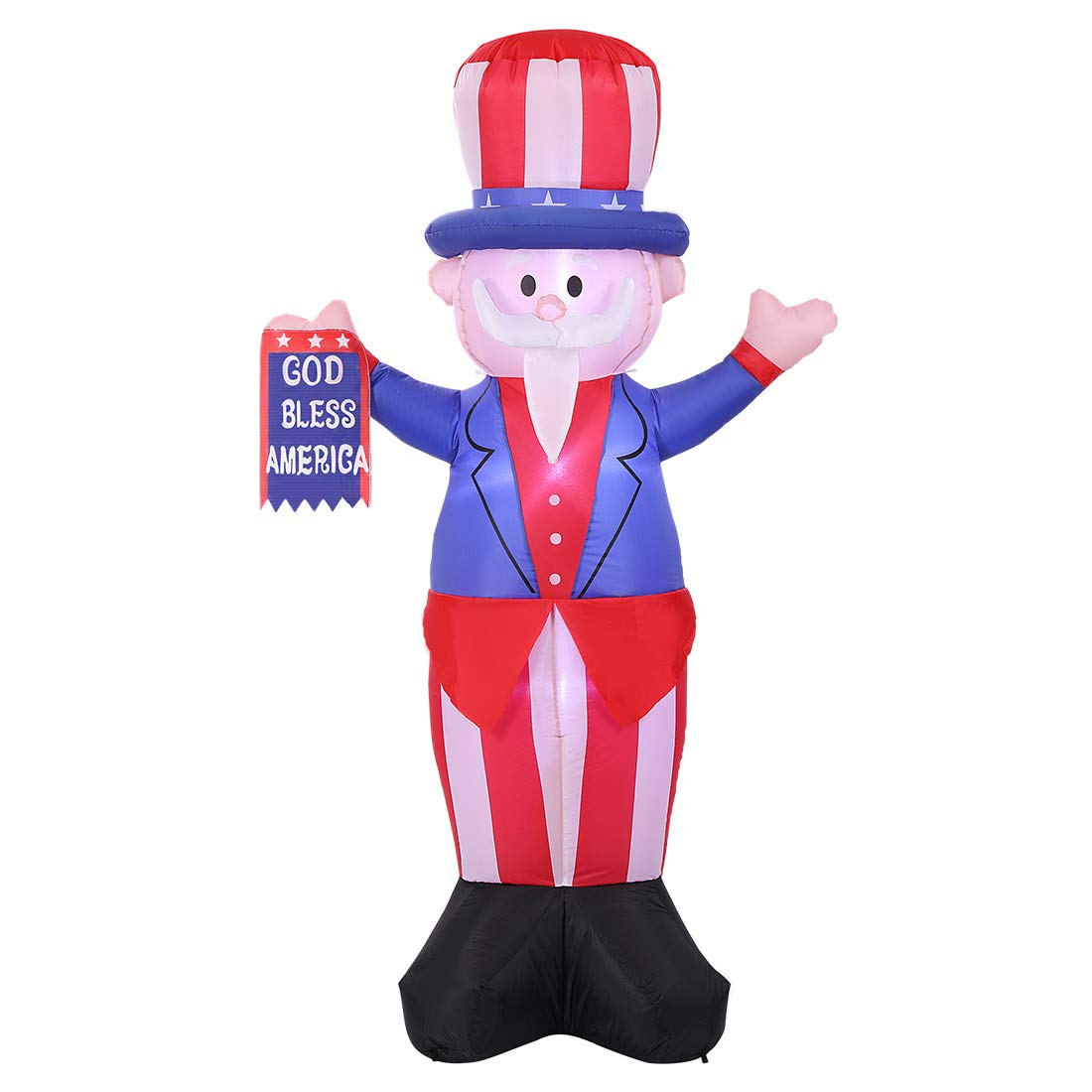 VIVOHOME 6ft Height Patriotic 4th of July Inflatable LED Lighted Uncle Sam with God Bless America Flag Outdoor Yard Decoration