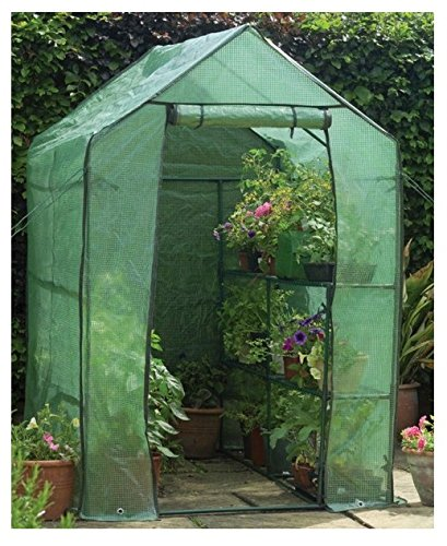 Happy Planter Walk-in Portable Greenhouse with Shelving, 6'3