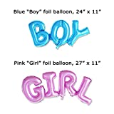 Gender Reveal Party Supplies Kit - Boy or Girl Baby Shower Decorations-Pregnancy Announcement-Boy or Girl Banner and Balloons, Boy and Girl Foil Balloon, Blue and Pink Paper Fans