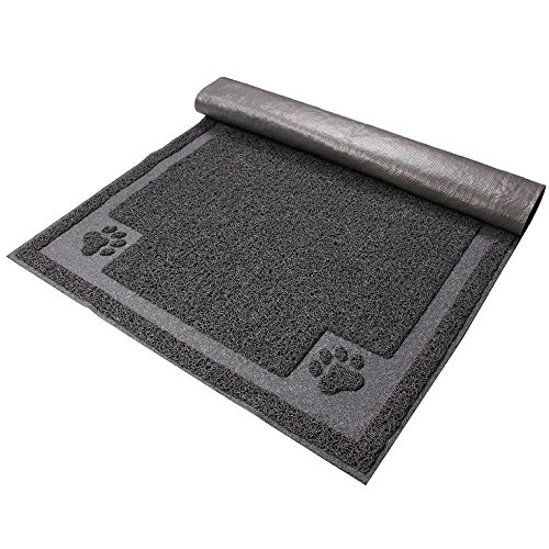 Twingo Cat Litter Mat - Medium 14''x24'' - Medium Size Rectangular Shape Kitty Litter Catcher for Cats Tracking Litter Out of Their Box - Scatter Control- Clean and Easy to Wash, Grey