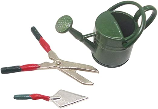 1//12 Dollhouse Miniatures Green Watering Can and Gardening Tools Set