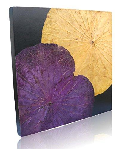 Handmade Lotus Leaf Wall Art | Made With Real Lotus Leaves Embossed onto Wood Frames (Yellow/Purple)