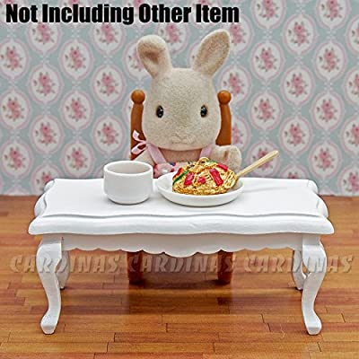 Odoria 1:12 Miniature White Tea Table Side Table Dollhouse Furniture Accessories: Toys & Games