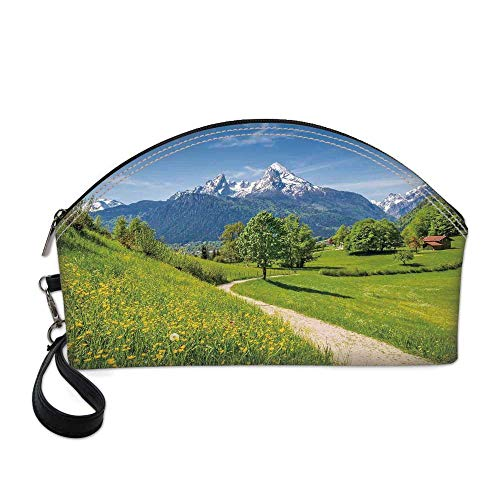 Landscape Beautiful Women's semi circular cosmetic bag,Wildflowers in the Alps and Snow capped Mountains National Park Bavaria Germany For -