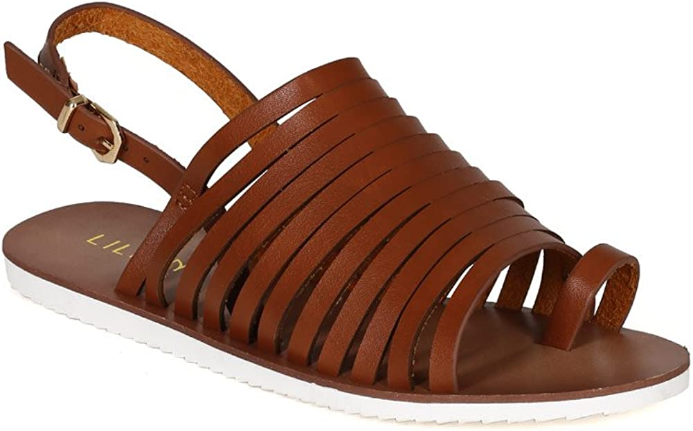 Liliana Women Leatherette Strappy Toe Ring Slingback Flat Sandal CJ42 Tan Leatherette