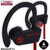 Bluetooth Headphones ZEUS OUTDOOR Wireless Earbuds HD Stereo Waterproof IPX7 Sweatproof Sports Earphones with Mic Best Wireless Headphones for Running Sport Workout Noise Cancelling Bluetooth Headset