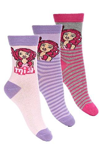 Mia and Me 3er Pack Kinder Socken Set (4435) Bequeme Strümpfe für Jungen und Mädchen aus Baumwolle mit Mia and Me Motiven, Pack#1, Gr. 31/34