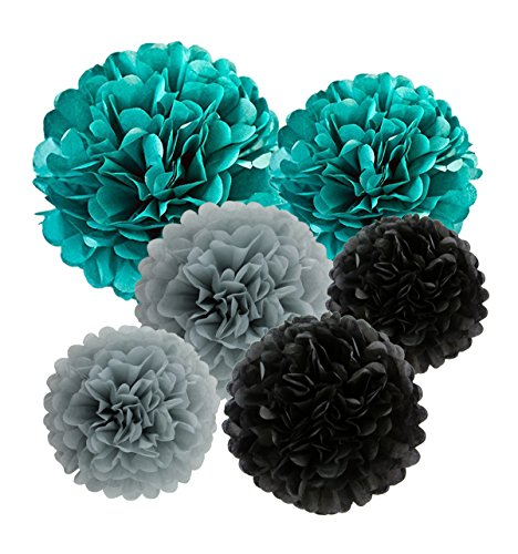 12pcs Tissue Paper Pom Poms - Teal Grey Black Paper Flowers 8inch 10inch Tissue Paper Balls,Best for Baby Shower Decorations & 1st birthdays wedding partis