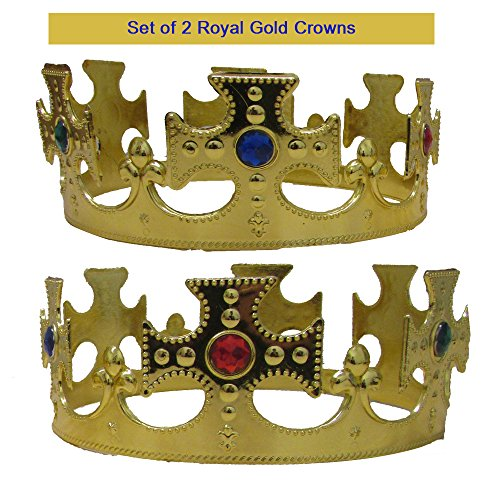 Royal Kings Crown Set of 2 - Gold Jeweled Regal Crowns Costume Accessory Party Favor 2 Pack for Birthday | BBQ | Graduation | Dress up | Pretend Play