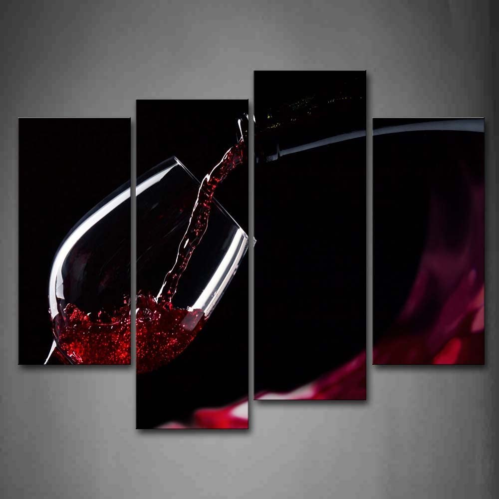 Amazon Com Red Wine In The Glass Wall Art Painting The Picture Print On Canvas Food Pictures For Home Decor Decoration Posters Prints