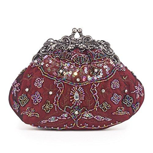 Farfalla 90404 - Bolso estilo sobre de satén mujer rojo - granate