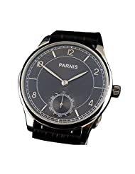 WhatsWatch 44mm parnis black dial seagull 6498 movement hand winding mens wrist watch PA-059