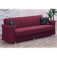BEYAN Ohio Collection Convertible Folding Sofa Bed Sleeper with Storage Space, Includes 2 Pillows, Burgundy