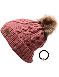 97a9f54a8c114c Women's Winter Fleece Lined Cable Knitted Pom Pom Beanie Hat with Hair Tie.