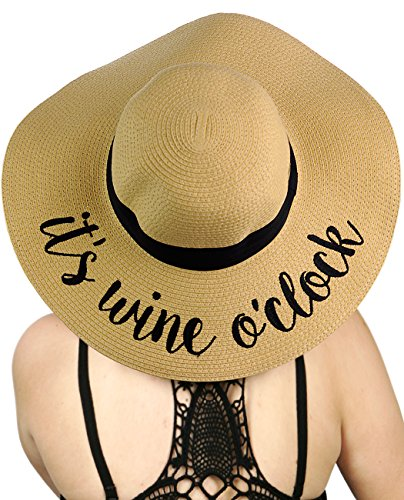 8415007d C.C Women's Paper Weaved Crushable Beach Embroidered Quote Floppy Brim Sun  Hat, It's Wine O'Clock