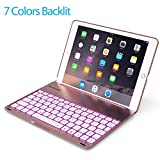 2017 New iPad 9.7 inch & iPad Air Keyboard Case - LED 7 Colors Backlit Wireless Bluetooth keyboard Folio Case Cover,Ultra Slim,Aluminium Alloy, Back Hard case- For model: A1822/A1823/A1474/A1475/A1476