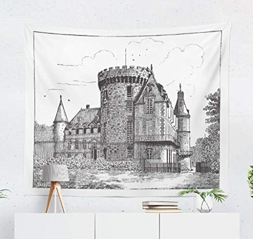 (Kutita Tapestry Wall Hanging Vintage and Castle French Black White Town House Wall Tapestry Home Decorations for Bedroom Living Room Dorm Decor in 60