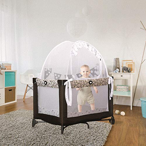 Baby Pack 'N Play Safety Pop up Tent: Premium Bed Canopy Netting Cover| See Through Mesh Top Nursery Mosquito Net |Stylish and Sturdy Unisex Infant Tent Net |Protect Your Baby from Falls and Bites by 1st Baby Safety
