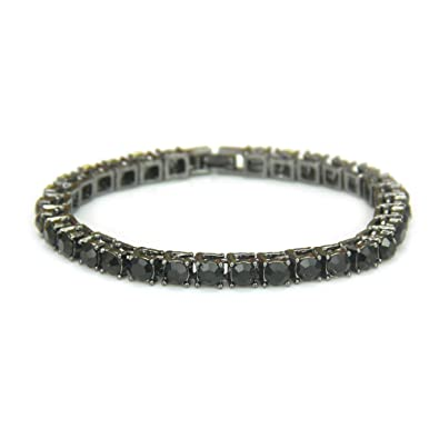Fashionever Silver Gold Plated Iced Out Men s Hip Hop Chain Bracelet Necklace  1 Row 6MM c9f243042b9f