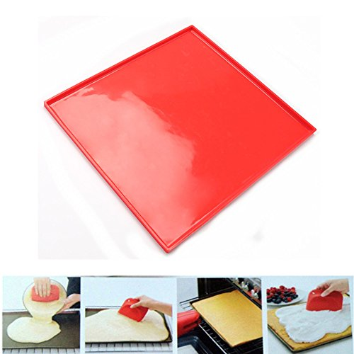 Nizzco Silicone Cake Swiss Roll Pizza Pan, Pastry Pad - Red