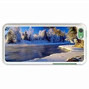 Custom-Made Iphone Case ipad iphone 5c Case Nature River Cold Ice Coast Hoarfrost Wood Frozen Clearly Of Romantic Gift White Cell Phone Shell For Women