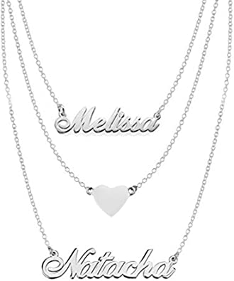 Ouslier 925 Sterling Silver Personalized Double Chain Name Necklace Custom Made with 2 Names