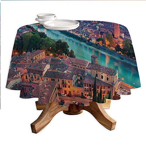 (European Round Polyester Tablecloth,Verona Italy During Summer Sunset Blue Hour Adige River Medieval Historcal,Dining Room Kitchen Round Table Cover,60