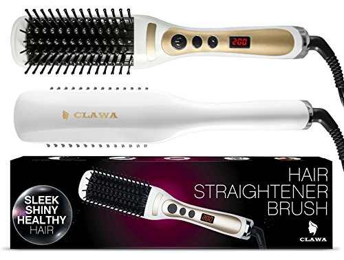 CLAWA Electric Hair Straightener Brush, White
