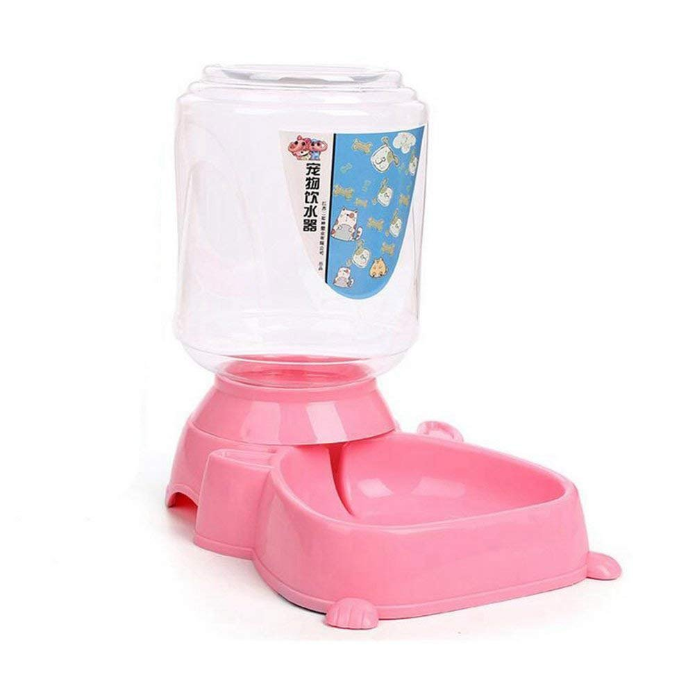 Aoile Automatic Pet Water/Food Dispenser Water Food Bowl for Dogs, Cats, Birds and Small Animals,4.0L (Automatic water feeder pink)