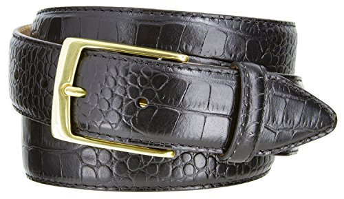 Embossed Leather Belt Buckle - Joseph Gold Buckle Men's Designer Leather Dress Belt 1-3/8