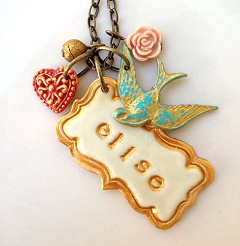 Bird and Heart Name Necklace, Vintage Frame Name Necklace with (Heart Frame Name Pendant)