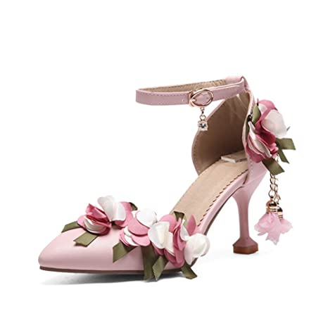 5eace0cec801 Amazon.com  XuanHan Summer Sweet Flowers Princess Sandals High Heels Party  Prom Wedding Shoes Women  Sports   Outdoors