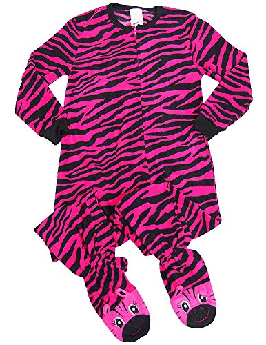 - Komar Kids - Little Girls Long Sleeve Zebra Stripe Blanket Sleeper, Fuchsia, Black 37550-4/5