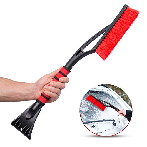 Ice Scraper For Car & Snow Remover Brush Tool 2 in 1 - Thick and Full Bristles, Ergonomic Grip, Comfy Foam Handle, Reversible Blade, Broom for Cars, Windshields, Windows, Snow & Ice Removal, Build up
