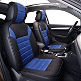 FH Group FB201102 Polyester Car Seat Cushion Pads Pair Set w. FREE GIFT, Blue/Black Color- Fit Most Car, Truck, Suv, or Van