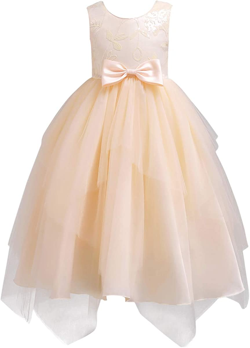 OwlFay Flower Girls Glittering Tiered Tulle Gown Kids Wedding Communion Party Dresses