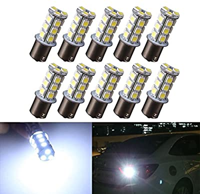 10 X1156 1141 1003 7506 BA15S 18 SMD RV Camper White LED Light Bulbs Tail Backup