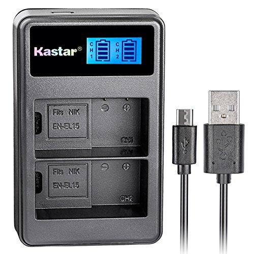 Kastar LCD Dual Slim Charger for Nikon EN-EL15, Nikon D850, D750, D7000, D7100, D7200, D7500, D800, D800E, D810, D600, D610, Nikon 1 V1 DSLR Camera, Nikon MB-D11, MB-D12, MB-D14, MB-D15, MB-D16 Grip