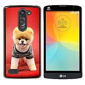 Caucho caso de Shell duro de la cubierta de accesorios de protección BY RAYDREAMMM - LG L Bello L Prime - Perro de perrito rojo animal doméstico divertido lindo canina