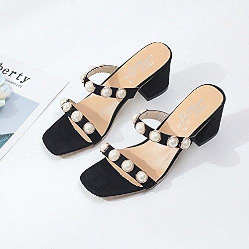 GAOLIM Zapatillas De Verano Perla Hembra Antideslizante De Rocío Fresco Y Mitad Ranurada Zapatillas De Alto Talón Zapatos Mujer Con Negrita Negro