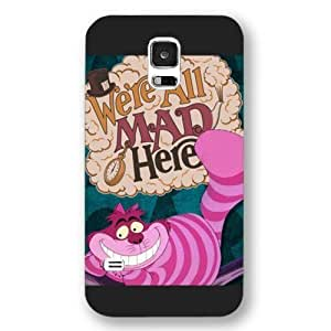 Kingsface UniqueBox Customized Black Frosted Samsung Galaxy S5 case cover, Alice in Wonderland We're all mad here Cheshire oJvIubtKQZt Cat Smile Face Samsung S5 case cover, Only fit Samsung Galaxy S5