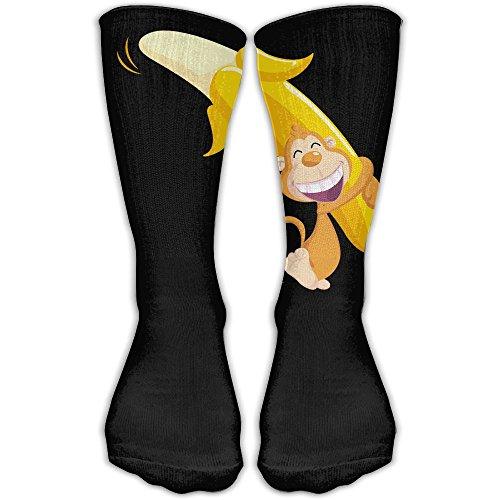 Protect Wrist For Cycling Moisture Control Elastic Sock Over-the-Calf Tube Socks Monkey Banana Athletic Soccer Training Socks -