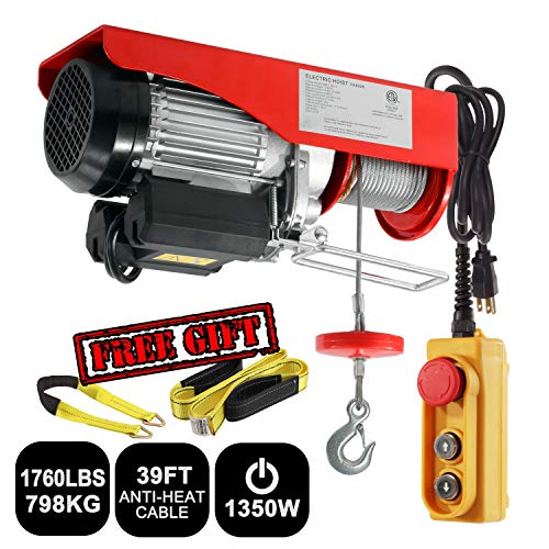 Partsam 1760 lbs Lift Electric Hoist Crane Remote Control Power System, Zinc-Plated Steel Wire Overhead Crane Garage Ceiling Pulley Winch w/Premium Straps (UL/CUL Approval, w/Emergency Stop Switch)