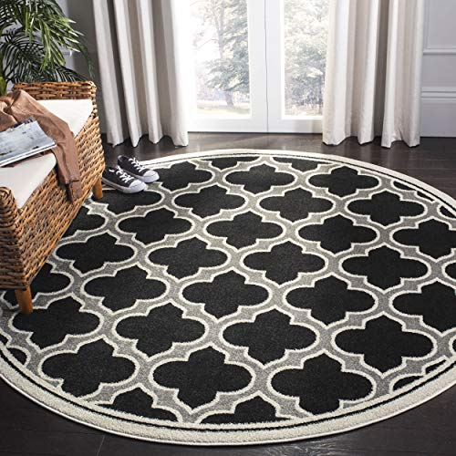 Safavieh Amherst Collection AMT412G Anthracite and Ivory Indoor/ Outdoor Round Area Rug (7' Diameter)