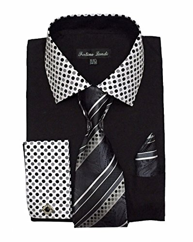 Men's French Cuff Dress Shirt w/ Polka Dot Contrast Collar & Tie Hanky Set #630 (18 - 18 1/2, 34/35, Black)