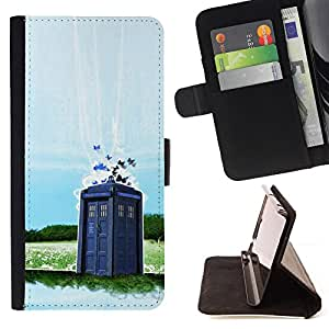 For Samsung Galaxy Note 3 III Dr Wh0 - Police Booth Beautiful Print Wallet Leather Case Cover With Credit Card Slots And Stand Function