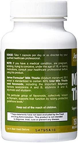 Jarrow Formulas Milk Thistle, Promotes Liver Health, 150 mg Caps, 100 Veggie Capsules Pack of 2