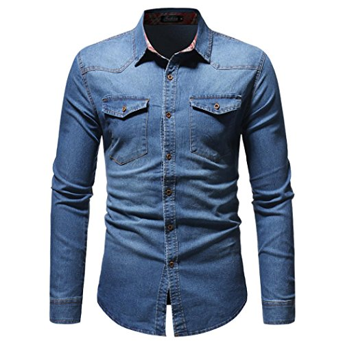 Men's Denim Shirts Clearance Sale vermers Men Autumn Winter Vintage Distressed Solid Long Sleeve Top Blouse(M, Blue) (Sale Distressed Furniture For)